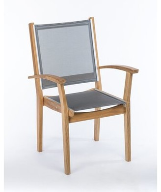 Rosecliff Heights Earls Stacking Teak Patio Dining Chair (Set of 4 Color: Grey