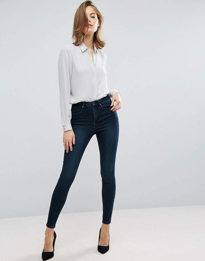 Asos 'SCULPT ME' High Rise Premium Jeans in Dark Stone Wash Blue