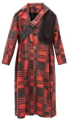 Chopova Lowena - Leather-strap Wool-blend Coat - Black Red