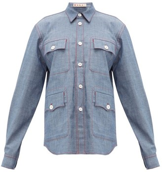 Marni Contrast-stitch Chambray Shirt - Womens - Light Blue