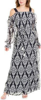 Tory Burch Wrap Silk-Trim Maxi Dress