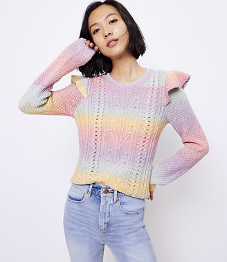 LOFT Spacedye Ruffle Sleeve Sweater