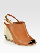 Pollini Leather Plexiglass Wedge Slingback Sandals