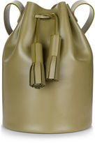 Building Block Olive Leather Tassel Bucket Bag