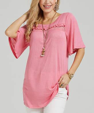 Suzanne Betro Women's Tunics 102ROSE - Rose Pink Ruffle Lace Collar Tunic - Women
