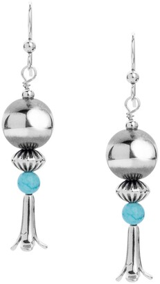 American West Classics Turquoise Squash Blossom Earrings in Sterling Silver