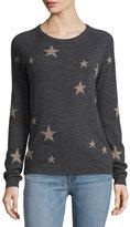 Neiman Marcus Cashmere Star Pullover Sweater, Gray