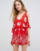 Band of Gypsies Floral Print Cold Shoulder Festival Romper