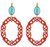 "Satellite Women's ""Stromboli"" Gold Plated Brass Oval Turquoise with Round Red Oval Drop Earrings"