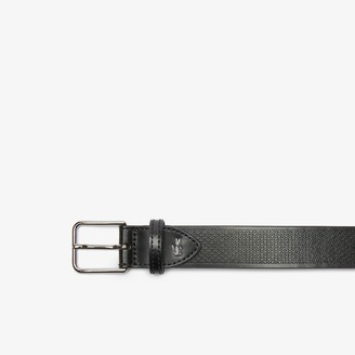 Lacoste Men's Metal Crocodile Stitched Leather Belt