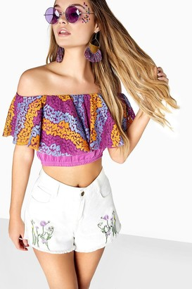 Girls On Film Curtis Lace Overlay Bandeau Crop Top
