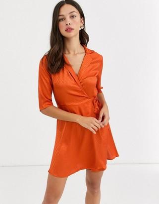 Qed London satin jacquard collared wrap dress in rust