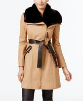 Via Spiga Faux-Fur-Collar Wool-Blend Walker Coat, Only at Macy's
