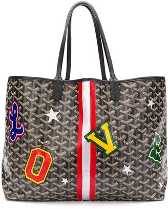 Goyard Pre-Owned patches print tote bag