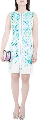Elie Tahari Blue Cool Water Print Sleeveless Zip Front Mila Dress S