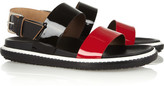 Leather and patent-leather sandals