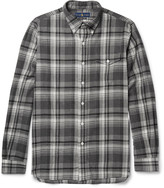 Polo Ralph Lauren Suede Elbow-Patch Checked Cotton-Flannel Shirt
