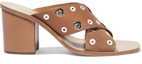 Rag & Bone Paige Eyelet-embellished Leather And Suede Mules