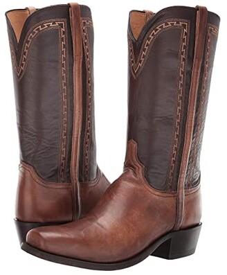 Lucchese Stanley Square Toe (Antique Pearl Bone) Cowboy Boots