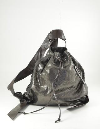 Patrizia Pepe Metallic Brown Leather Triangle Backpack
