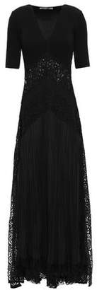 Roberto Cavalli Pleated Paneled Lace And Ribbed-knit Maxi Dress