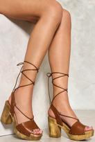 Nasty Gal nastygal Wrap Ankle Wooden Platform Heel