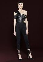 Mason by Michelle Mason Faux Leather Ruffle Top