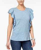 Style&Co. Style & Co Cotton Flutter-Sleeve T-Shirt, Created for Macy's