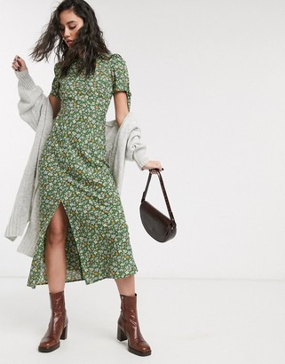 ASOS DESIGN maxi tea dress with tie sleeves in ditsy floral print