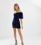 Reclaimed Vintage inspired velvet mini dress with ruching and puff sleeve