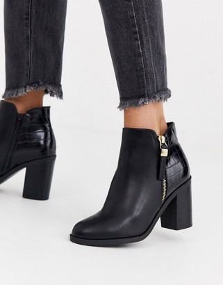 Office Albany croc contrast mid heeled side zip ankle boots-Black