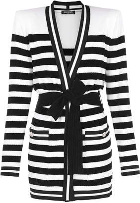 Balmain Belted Striped Ribbed-Knit Cardigan