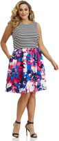 Maggy London Curve Floral Striped Flare
