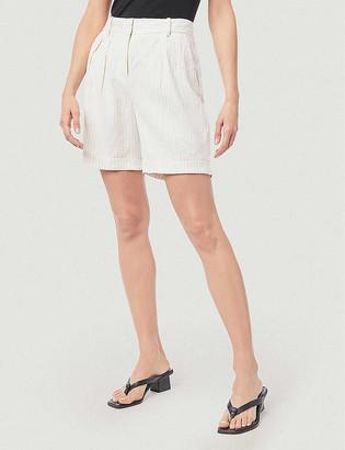 Frame Striped relaxed high-rise linen-blend shorts