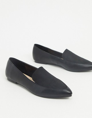 London Rebel pointed flat loafers in black mix