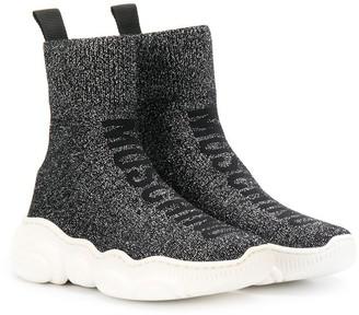 MOSCHINO BAMBINO Lurex Sock Hi-Top Sneakers