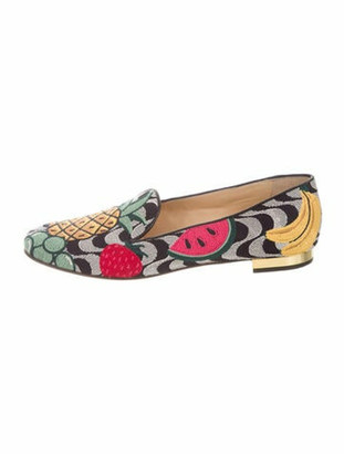 Charlotte Olympia Printed Embroidered Accent Loafers