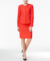 Le Suit Textured Three-Button Skirt Suit