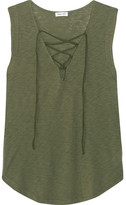 Splendid Lace-up Micro Modal And Stretch Supima Cotton-blend Jersey Top - Army green