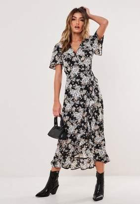 Missguided Black Floral Print Flutter Sleeve Wrap Midi Dress