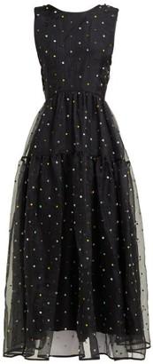 Cecilie Bahnsen Ruth Floral-beaded Silk-organza Midi Dress - Black Multi