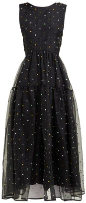 Cecilie Bahnsen Ruth Floral-beaded Silk-organza Midi Dress - Womens - Black Multi