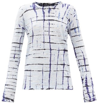 Proenza Schouler Checked Tie-dye Cotton Long-sleeved T-shirt - Blue Multi