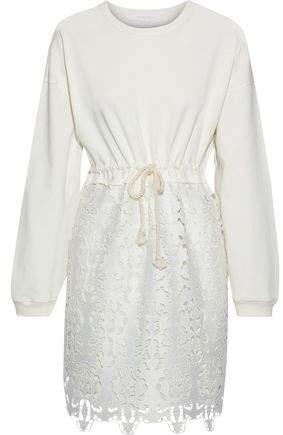 fe5b41aa Cotton-jersey And Guipure Lace Mini Dress