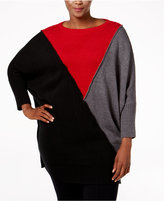 Style&Co. Style & Co. Plus Size Colorblocked Dolman-Sleeve Sweater Tunic, Only at Macy's