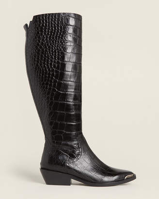 Sigerson Morrison Black Jaden Croc-Embossed Tall Leather Boots