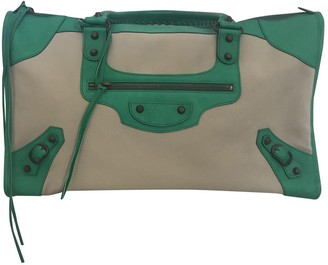 Balenciaga City Green Cotton Handbags