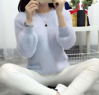 TOSISZ Sweater Women Fashion Casual Simple Lantern Sleeve Solid Color Loose Comfort Cashmere Knitting Mohair Fur Pullover