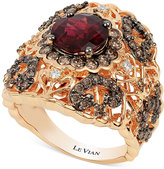 LeVian Le Vian Chocolatier Floral Lace with Vanilla Diamonds (1-1/6 ct. t.w.) Chocolate Diamonds (1-1/10 ct. t.w.) and Raspberry Rhodolite Garnet (2-1/4 ct t.w.) Ring in Rose Gold
