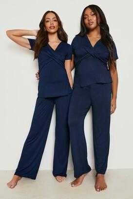 boohoo Maternity Wrap Front Nursing Pj Trouser Set